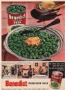 FOOD ADVERT. United Canners Ltd. Benedict Processed peas, vintage print 1951